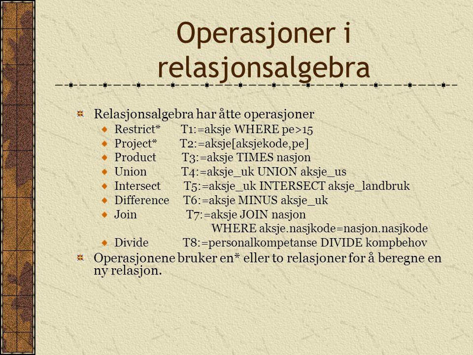 Operasjoner i relasjonsalgebra