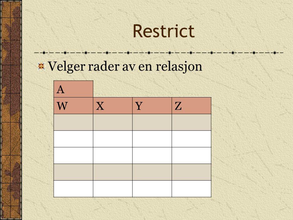 Restrict Velger rader av en relasjon A W X Y Z