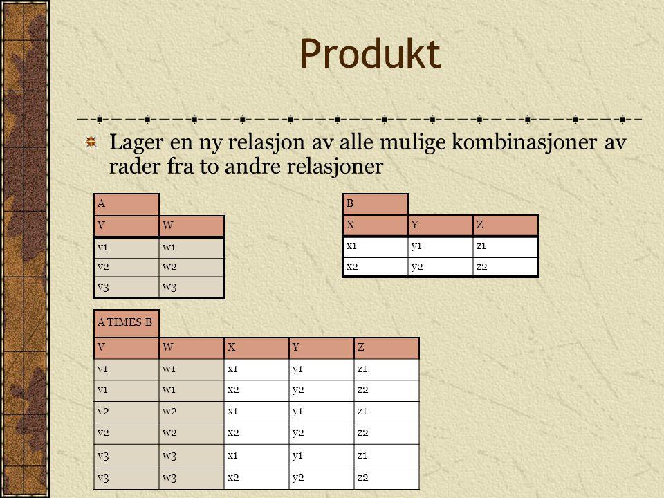 Produkt Lager en ny relasjon av alle mulige kombinasjoner av rader fra to andre relasjoner. A. V.