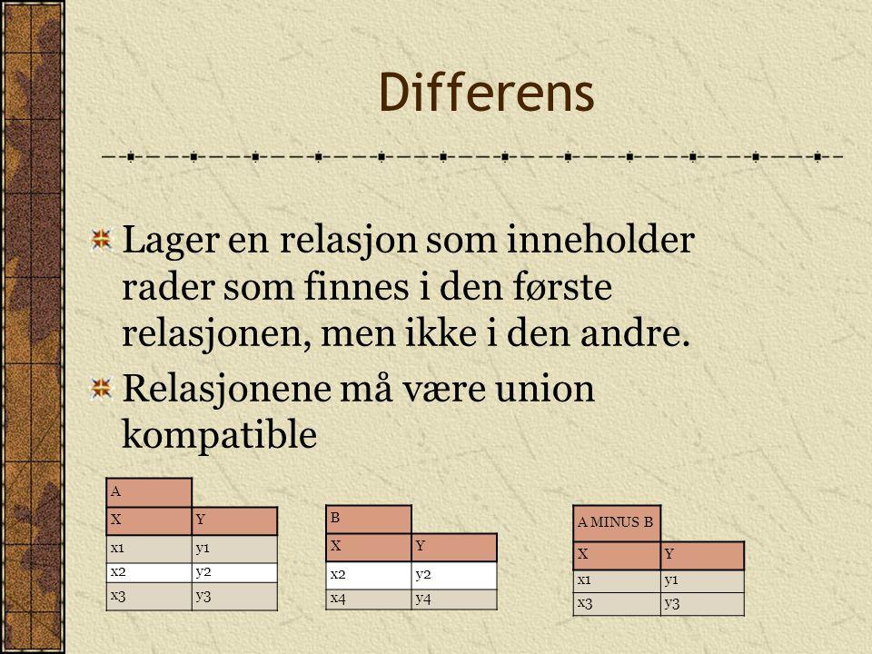 Differens Lager en relasjon som inneholder rader som finnes i den første relasjonen, men ikke i den andre.