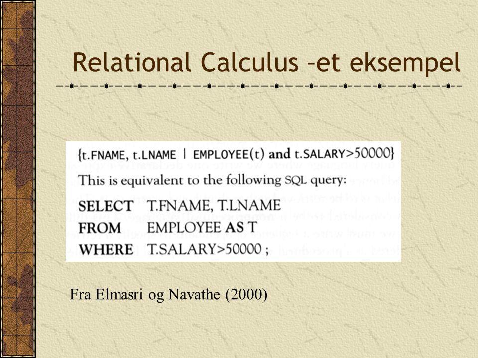 Relational Calculus –et eksempel