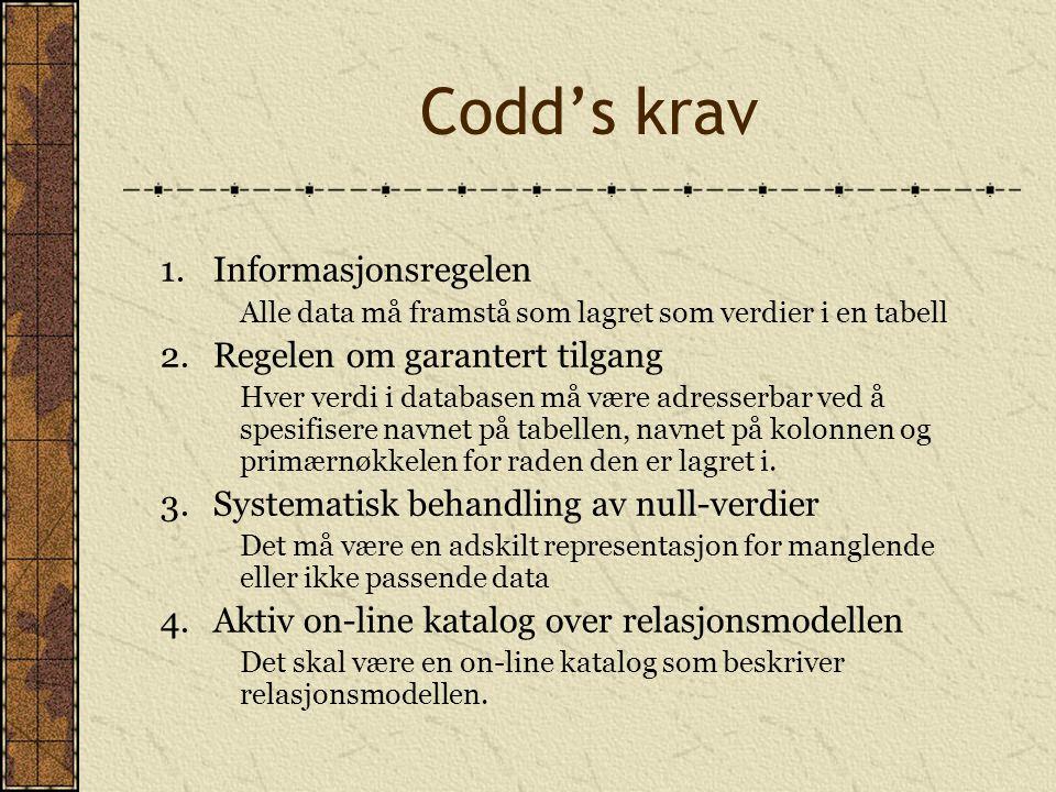 Codd's krav 1. Informasjonsregelen 2. Regelen om garantert tilgang