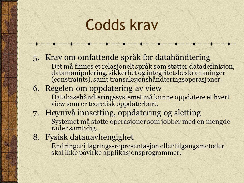 Codds krav 5. Krav om omfattende språk for datahåndtering
