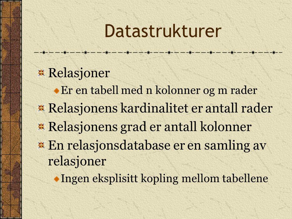 Datastrukturer Relasjoner Relasjonens kardinalitet er antall rader