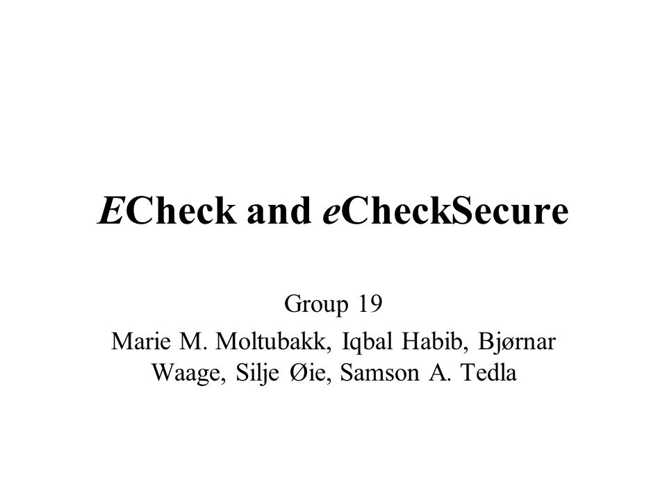 ECheck and eCheckSecure
