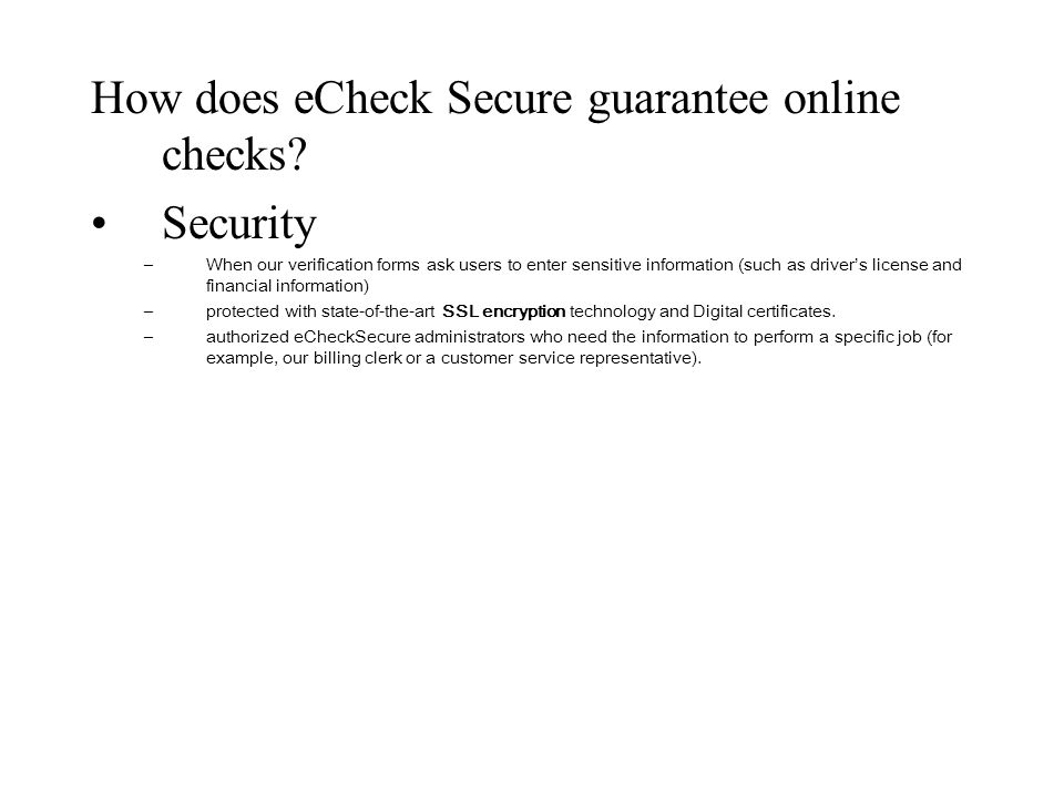 How does eCheck Secure guarantee online checks Security