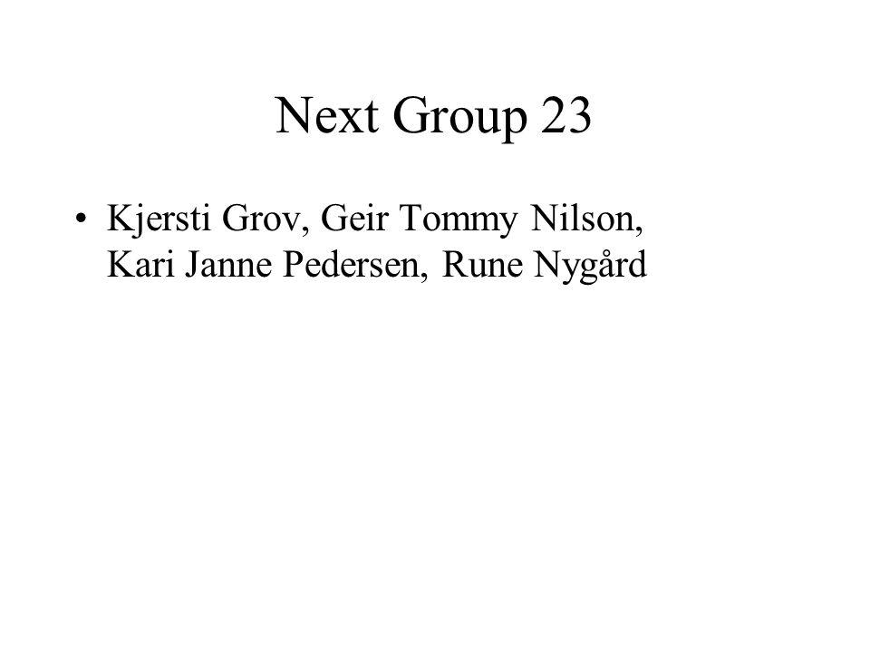 Next Group 23 Kjersti Grov, Geir Tommy Nilson, Kari Janne Pedersen, Rune Nygård