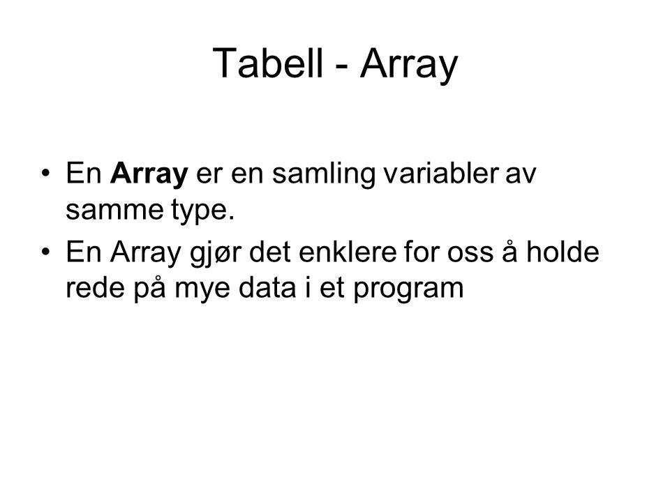 Tabell - Array En Array er en samling variabler av samme type.
