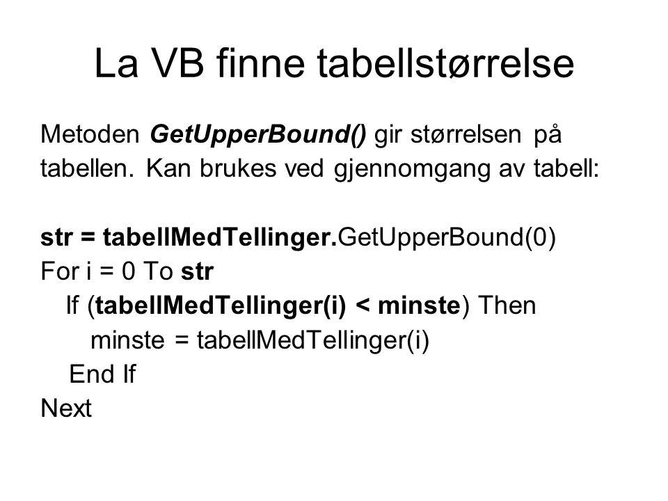 La VB finne tabellstørrelse