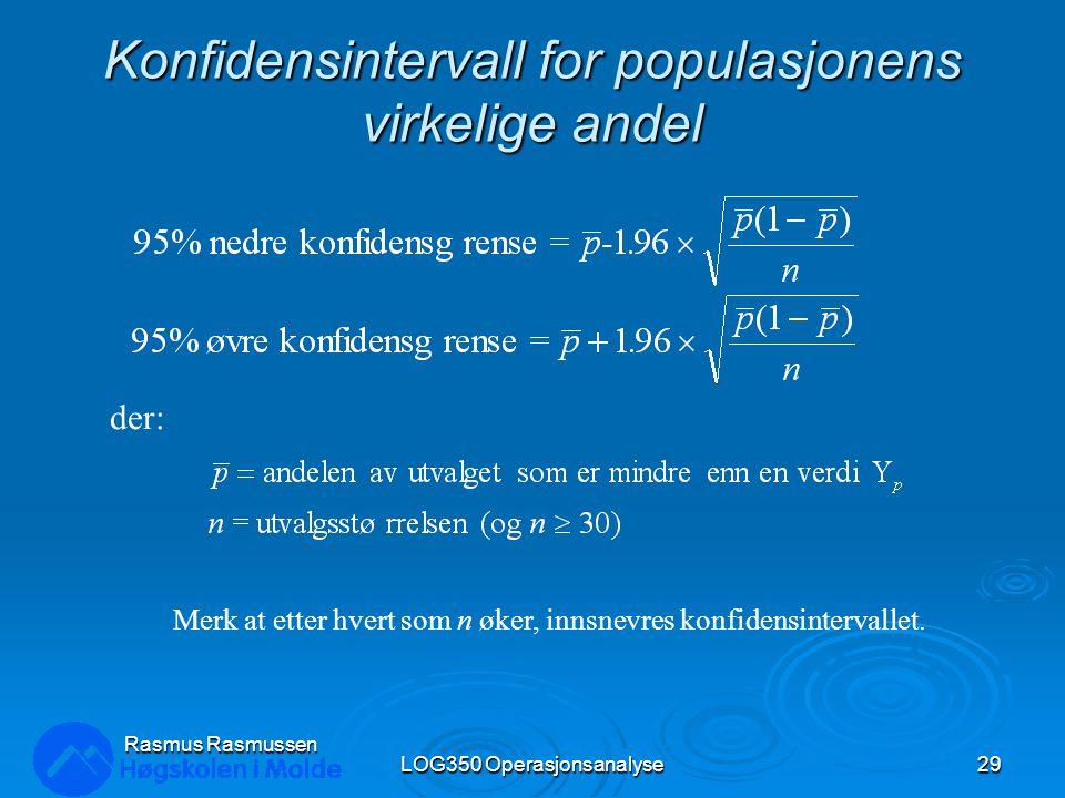 Konfidensintervall for populasjonens virkelige andel