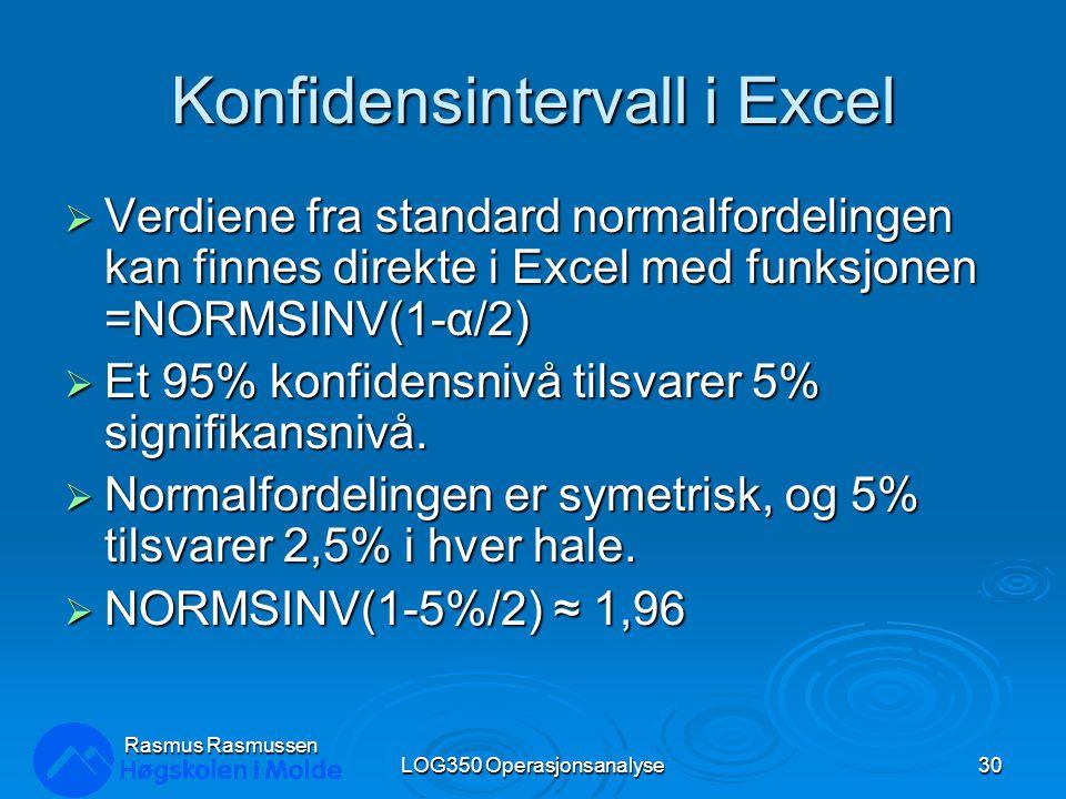 Konfidensintervall i Excel