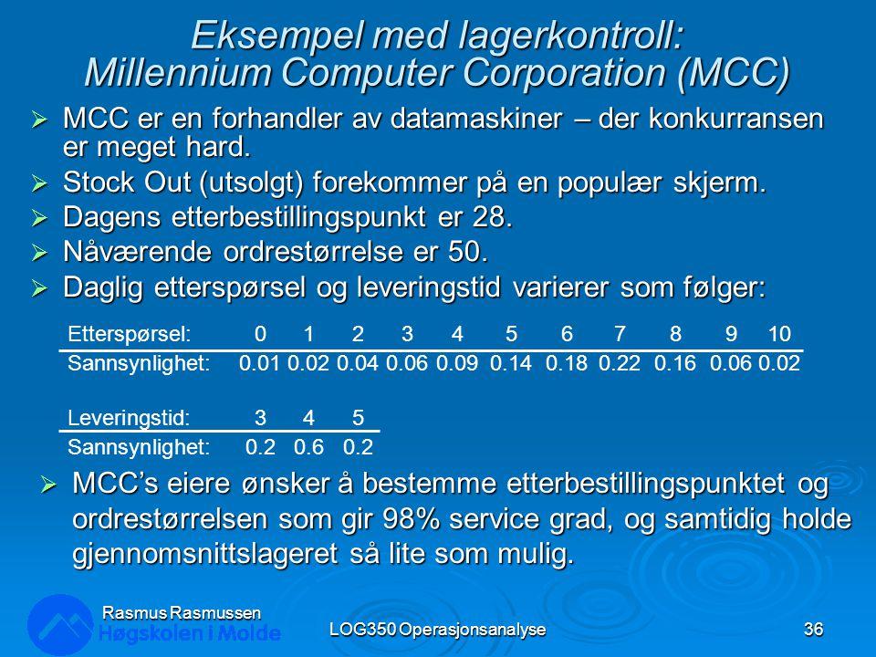 Eksempel med lagerkontroll: Millennium Computer Corporation (MCC)