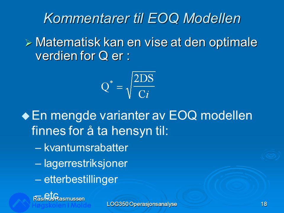 Kommentarer til EOQ Modellen