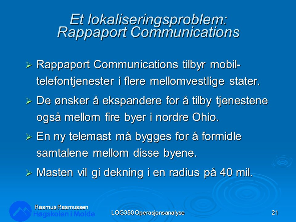 Et lokaliseringsproblem: Rappaport Communications