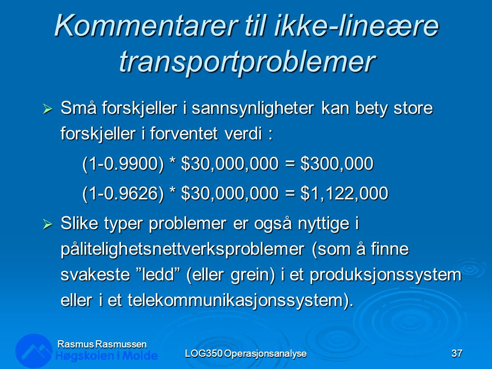 Kommentarer til ikke-lineære transportproblemer