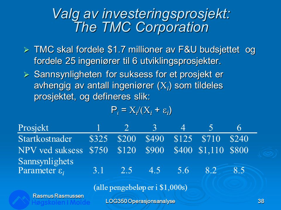 Valg av investeringsprosjekt: The TMC Corporation