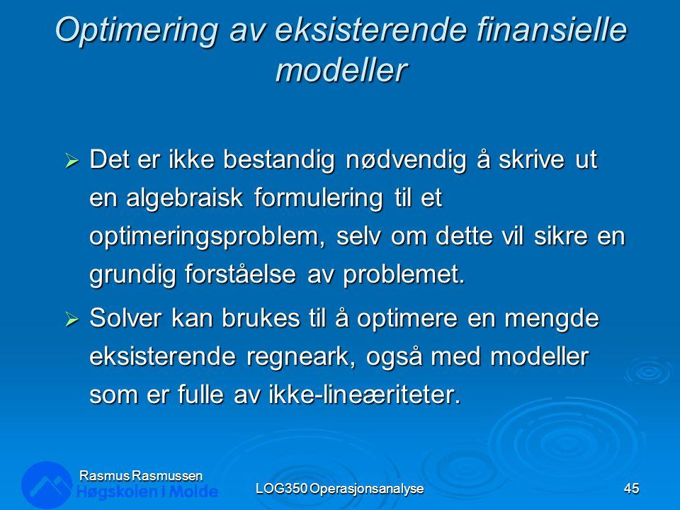 Optimering av eksisterende finansielle modeller
