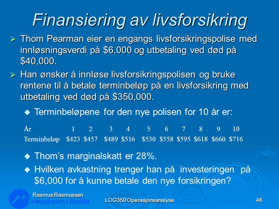 Finansiering av livsforsikring