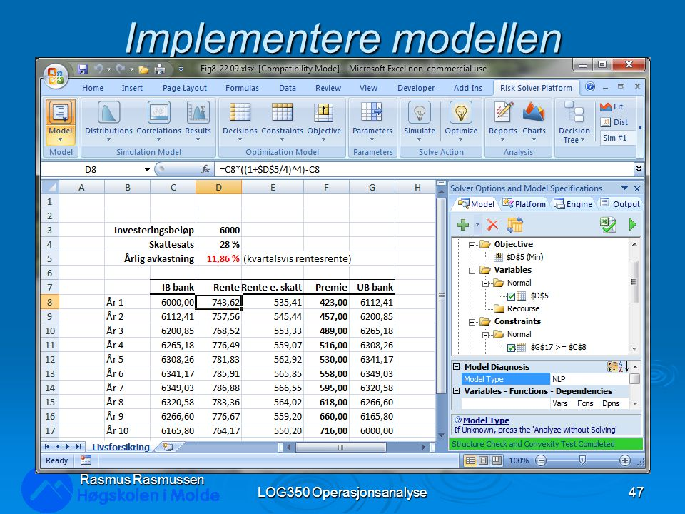 Implementere modellen