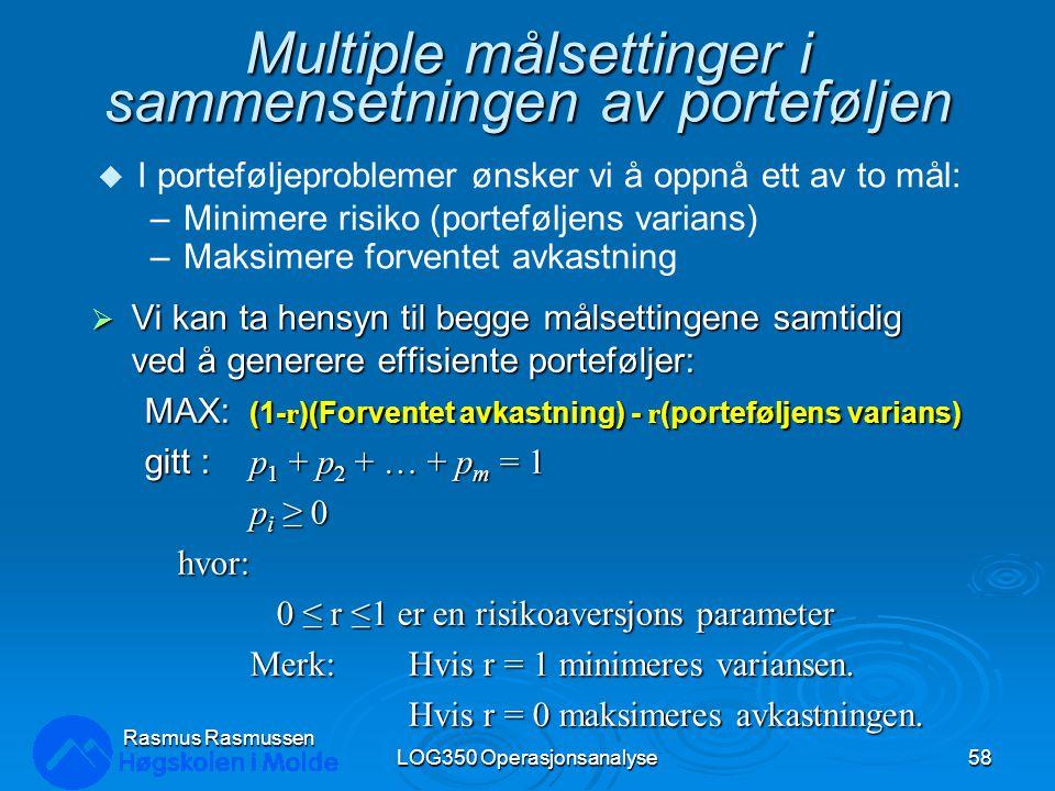 Multiple målsettinger i sammensetningen av porteføljen