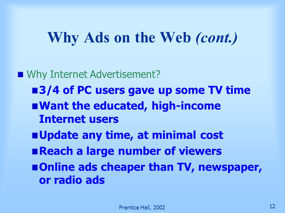 Why Ads on the Web (cont.)