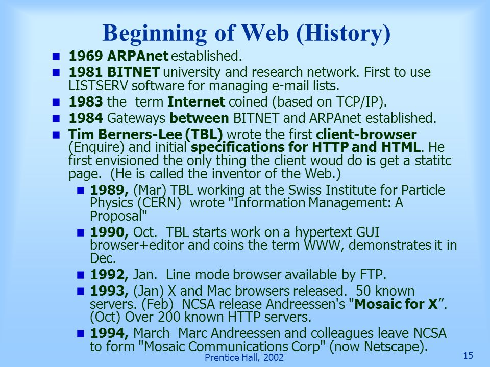 Beginning of Web (History)