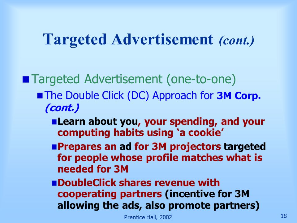 Targeted Advertisement (cont.)