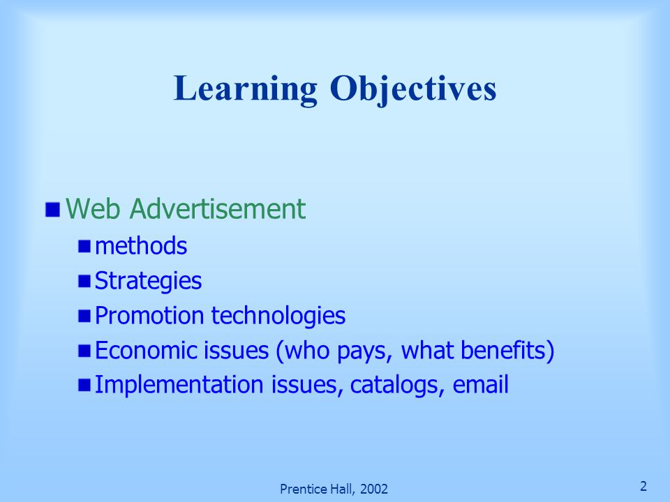 Learning Objectives Web Advertisement methods Strategies