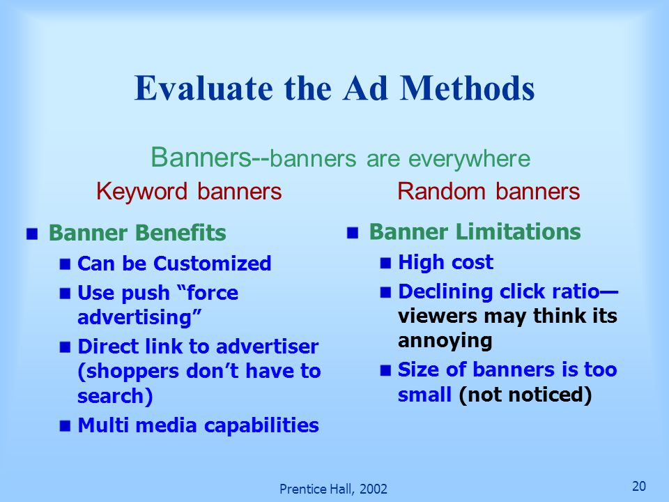 Evaluate the Ad Methods