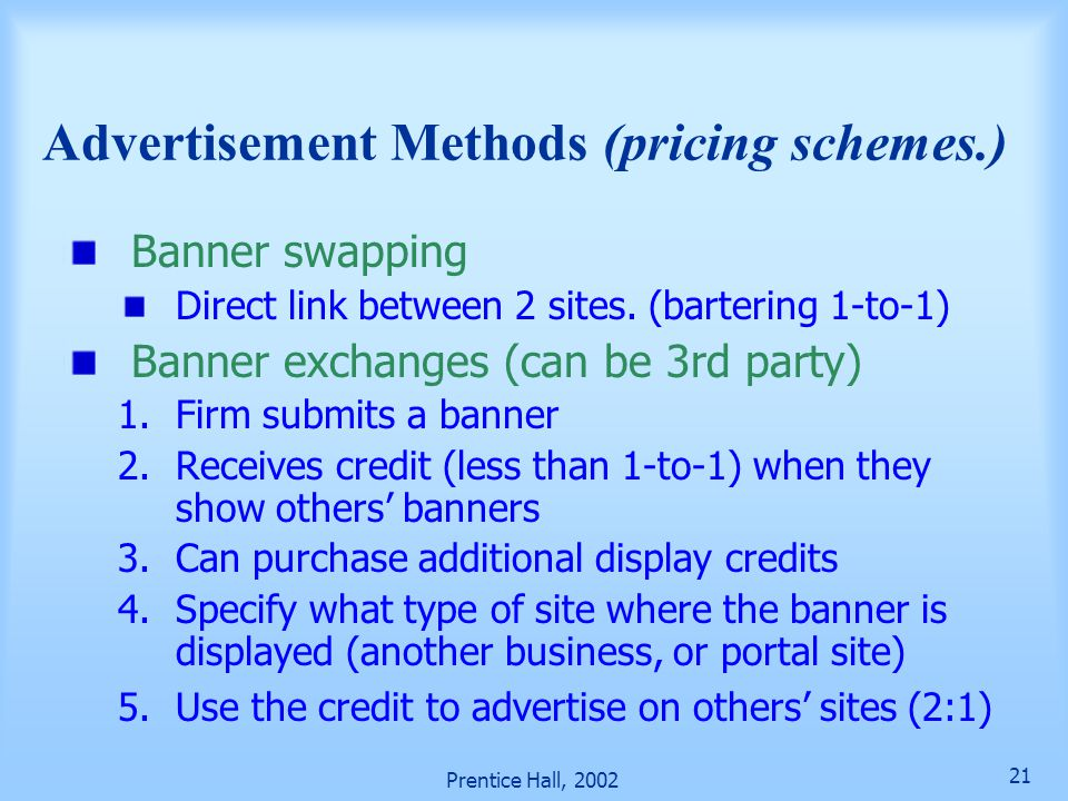 Advertisement Methods (pricing schemes.)