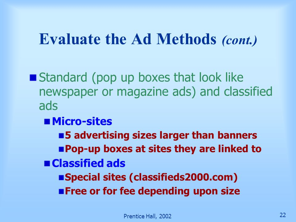 Evaluate the Ad Methods (cont.)