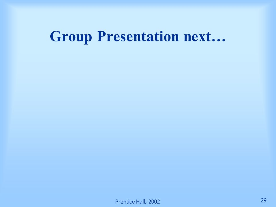 Group Presentation next…