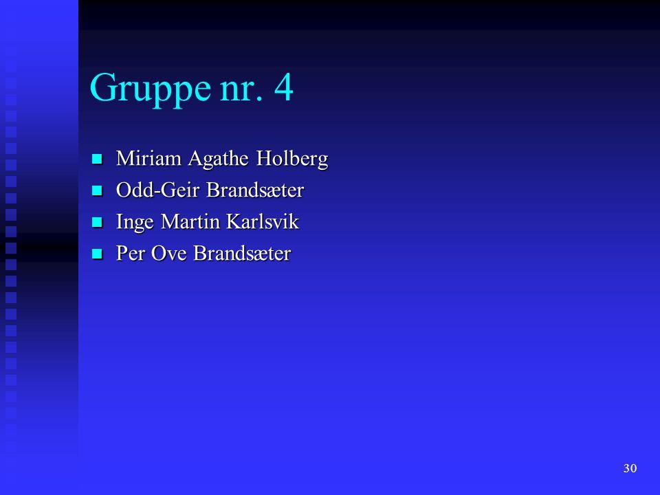 Gruppe nr. 4 Miriam Agathe Holberg Odd-Geir Brandsæter