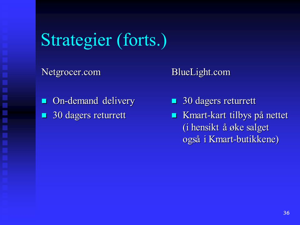 Strategier (forts.) Netgrocer.com On-demand delivery