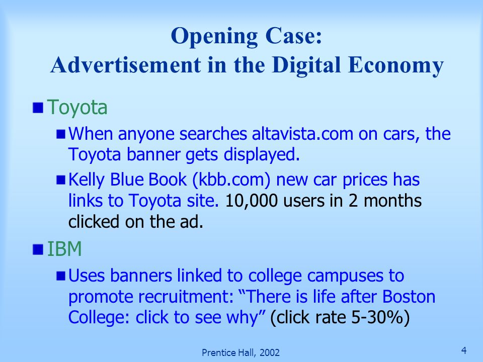 Opening Case: Advertisement in the Digital Economy