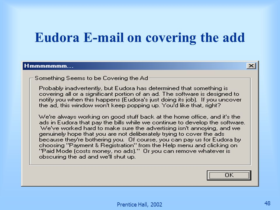 Eudora E-mail on covering the add