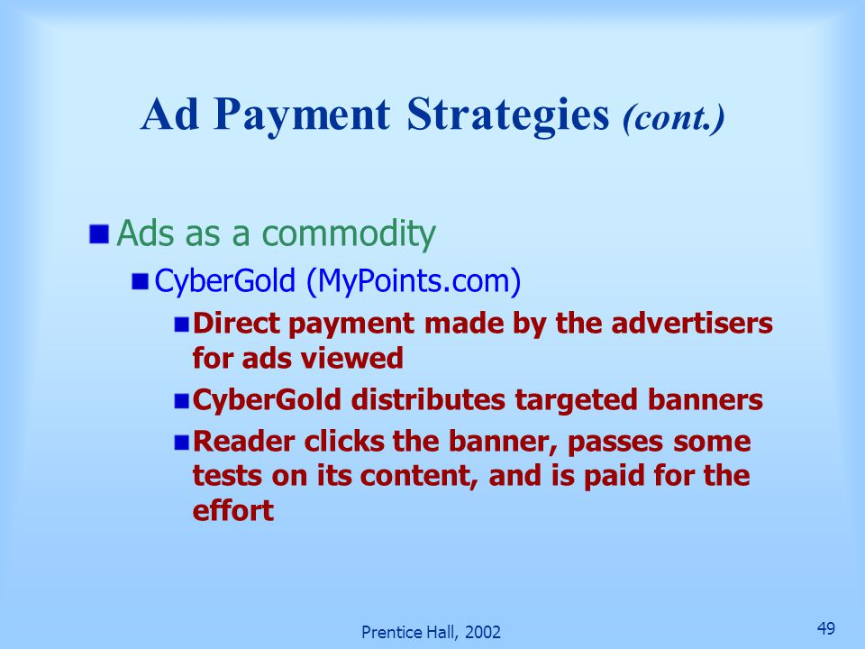 Ad Payment Strategies (cont.)