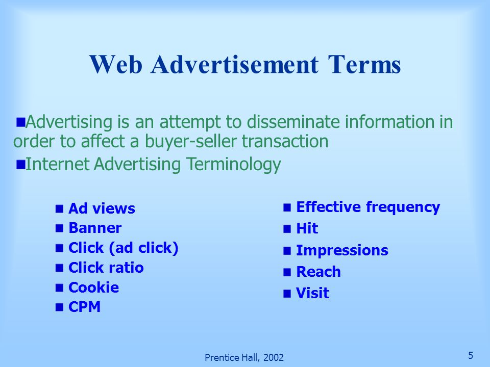 Web Advertisement Terms