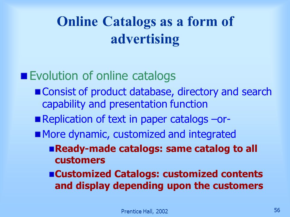Online Catalogs as a form of advertising