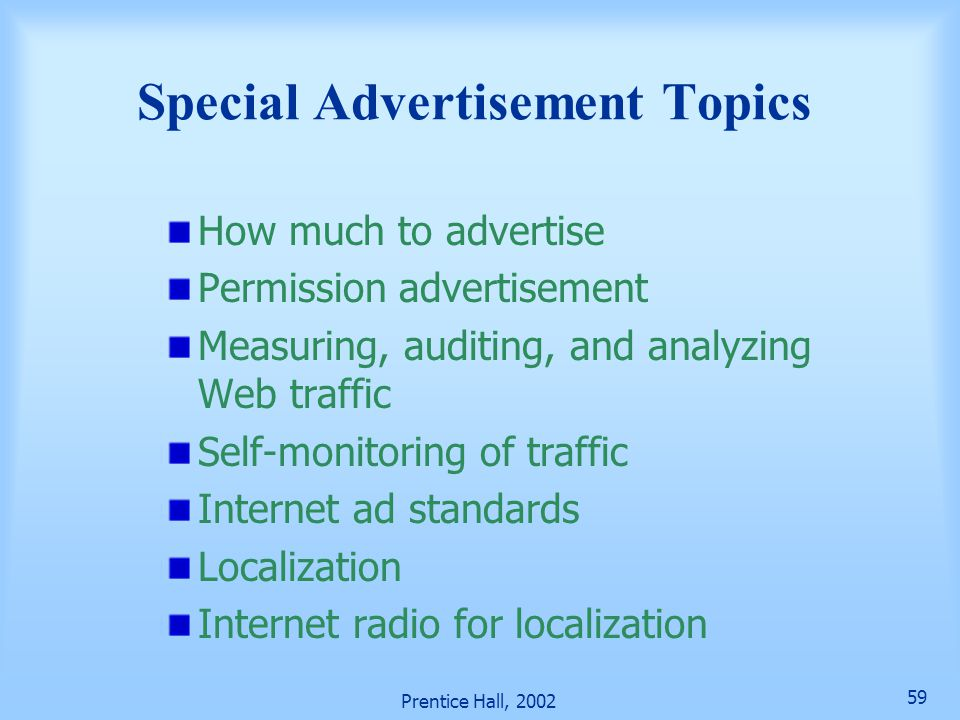 Special Advertisement Topics