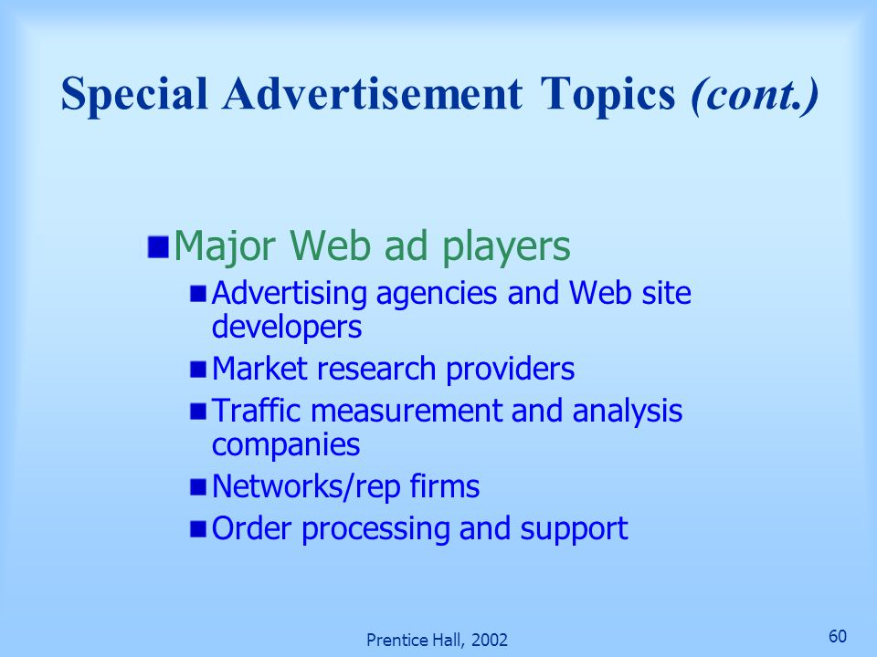 Special Advertisement Topics (cont.)