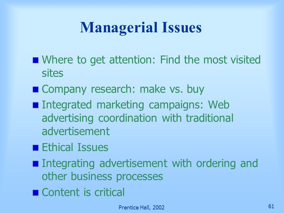Managerial Issues Where to get attention: Find the most visited sites