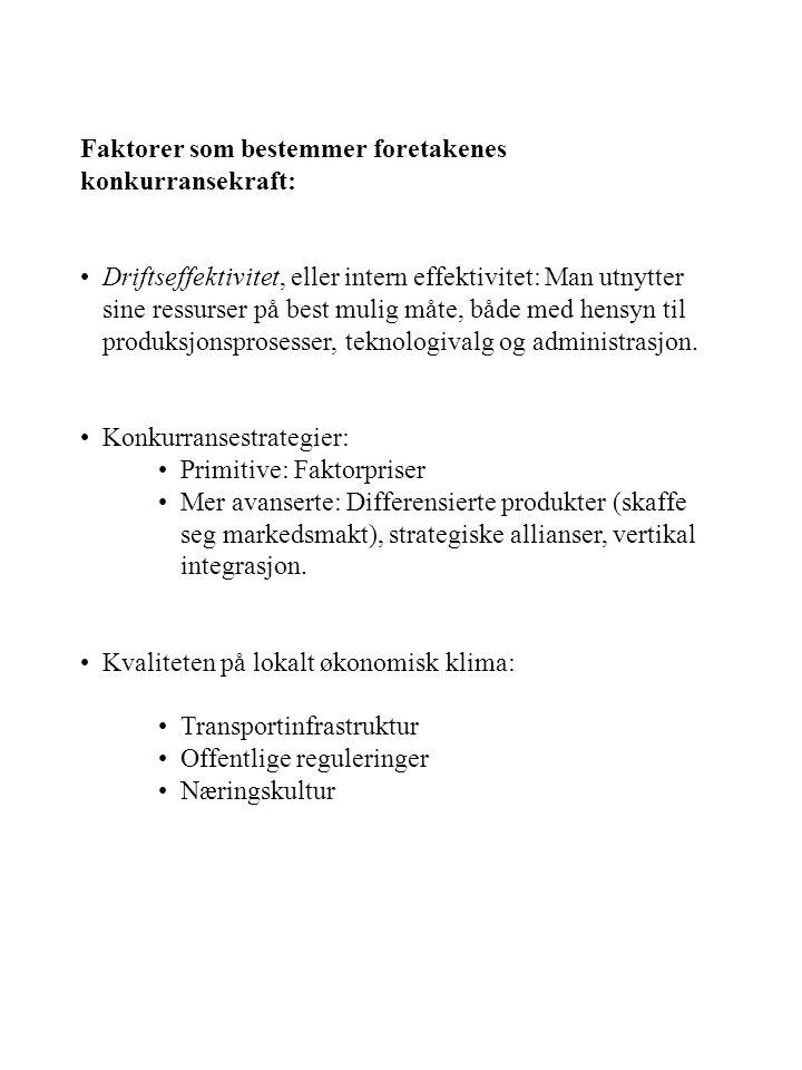 Faktorer som bestemmer foretakenes