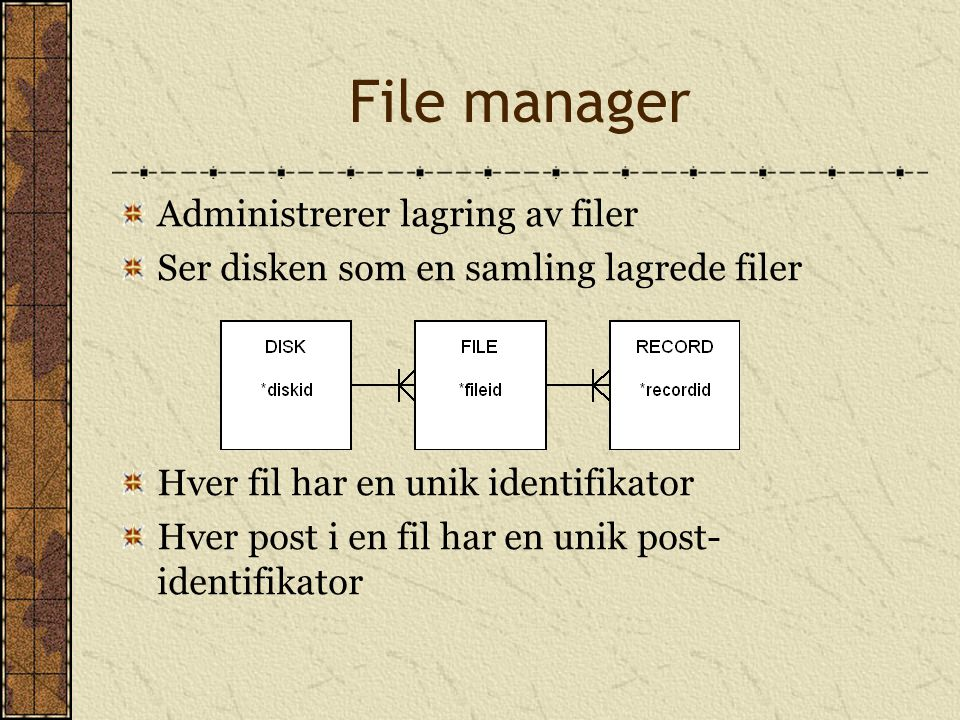 File manager Administrerer lagring av filer