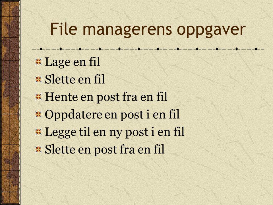 File managerens oppgaver