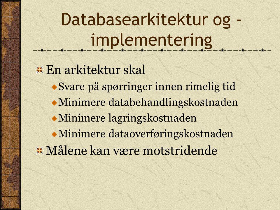 Databasearkitektur og -implementering