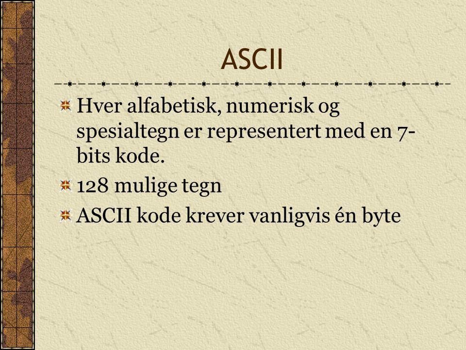 ASCII Hver alfabetisk, numerisk og spesialtegn er representert med en 7-bits kode. 128 mulige tegn.