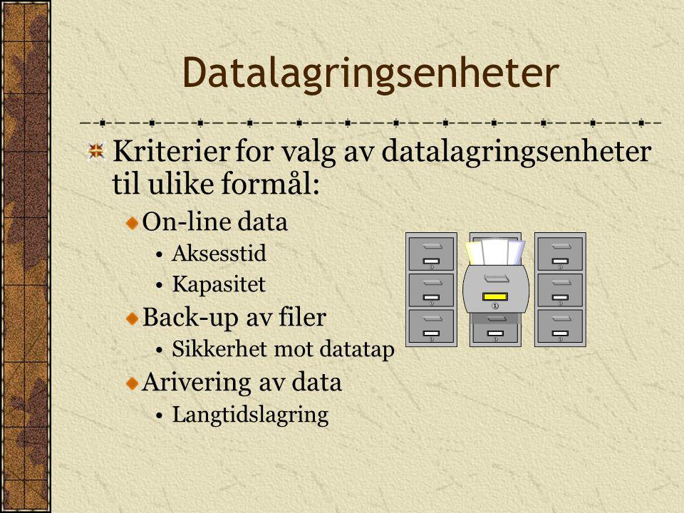 Datalagringsenheter Kriterier for valg av datalagringsenheter til ulike formål: On-line data. Aksesstid.
