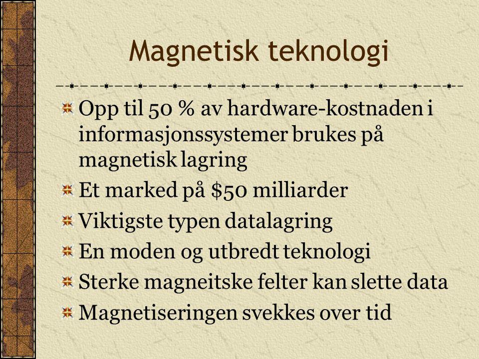 Magnetisk teknologi Opp til 50 % av hardware-kostnaden i informasjonssystemer brukes på magnetisk lagring.