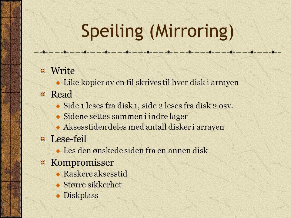 Speiling (Mirroring) Write Read Lese-feil Kompromisser